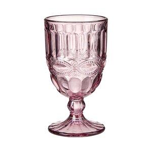 6x Trinkglas mit Stiel 220 ml rosa