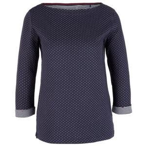 s.Oliver Shirt, 3/4 Arm, Turn-Up-Ärmel, Muster, U-Boot-Ausschnitt, für Damen