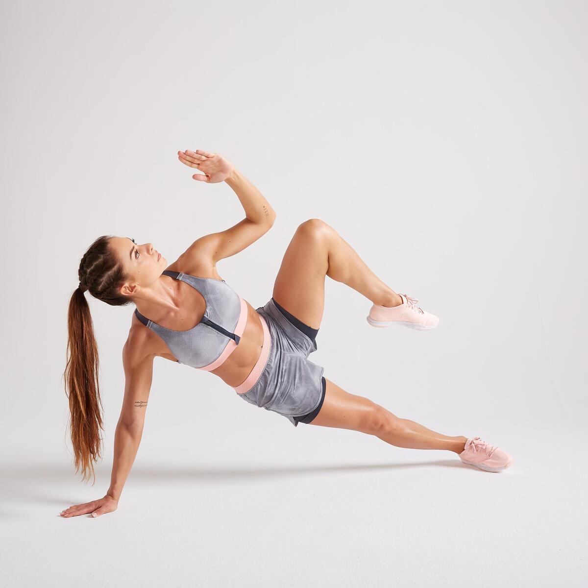 Bild 2 von Sport-Bustier Zip FBRA 900 Fitness Cardio Damen grau mit Print