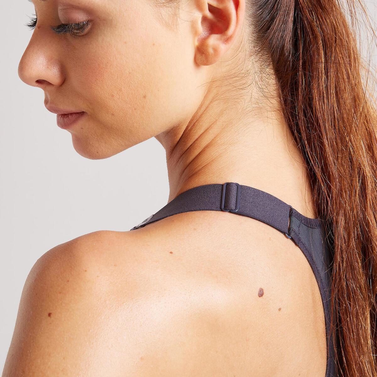 Bild 4 von Sport-Bustier Zip FBRA 900 Fitness Cardio Damen grau mit Print