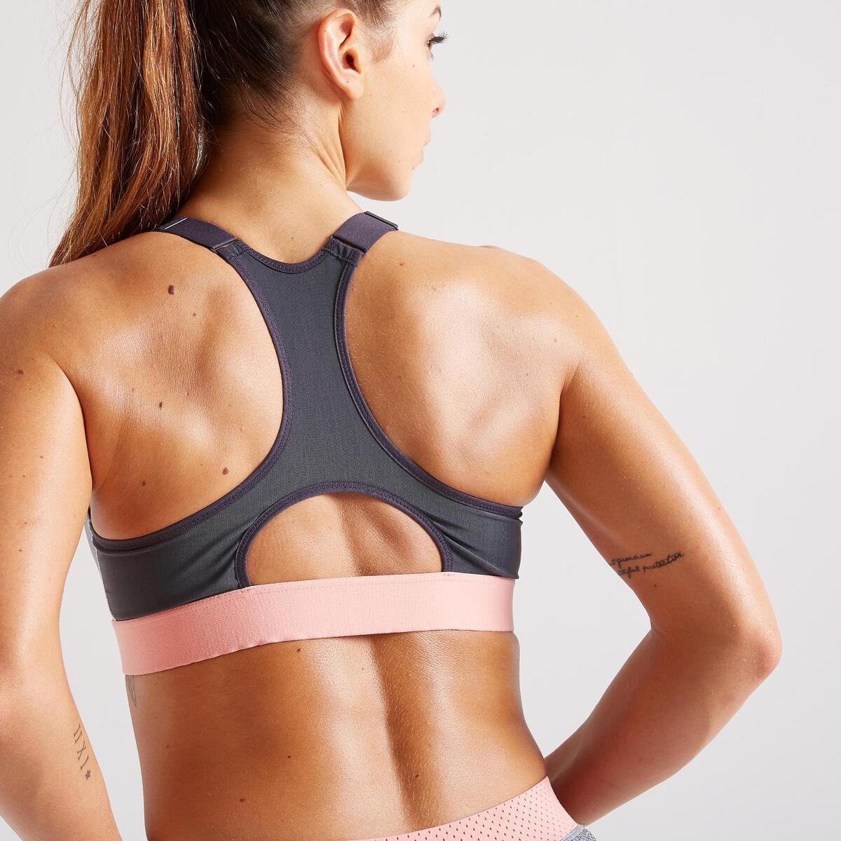Bild 5 von Sport-Bustier Zip FBRA 900 Fitness Cardio Damen grau mit Print
