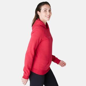 Kapuzenpullover 520 Pilates sanfte Gymnastik Damen rot
