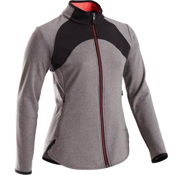 Trainingsjacke warm atmungsaktiv S900 Gym Kinder grau/schwarze Einsätze