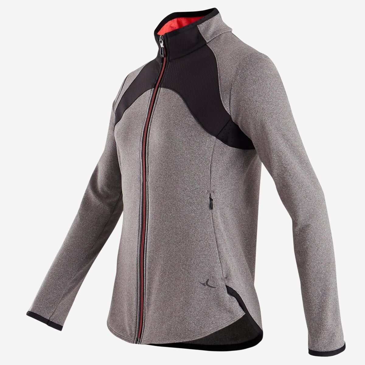 Bild 2 von Trainingsjacke warm atmungsaktiv S900 Gym Kinder grau/schwarze Einsätze