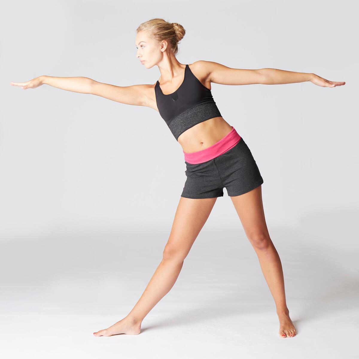 Bild 2 von Shorts sanftes Yoga Baumwolle aus biologischem Anbau Damen grau/rosa