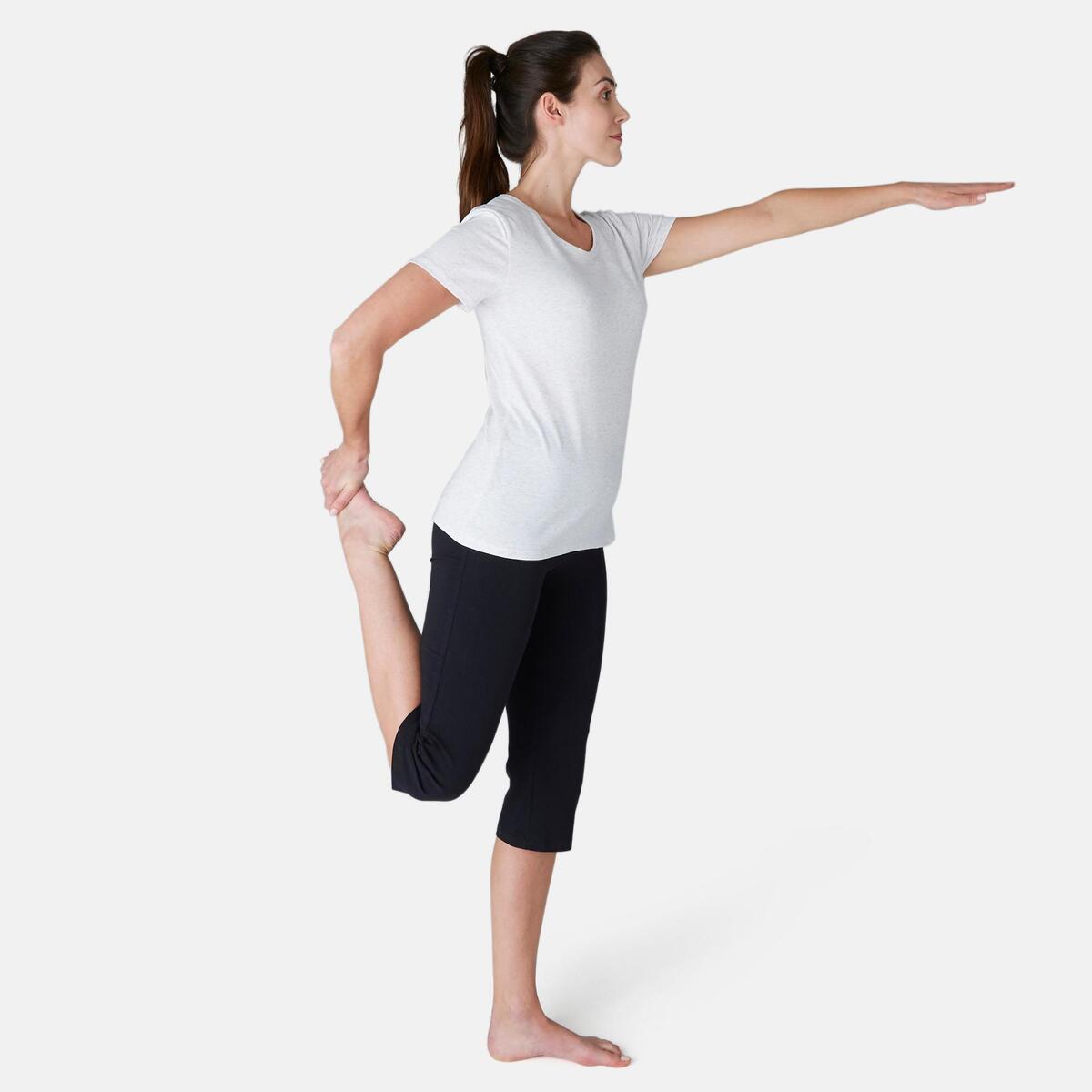 Bild 2 von 3/4-Hose Fit+ 500 Regular Gym & Pilates Damen schwarz
