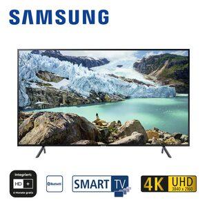 UE75RU7179 (mit AirPlay-Unterstützung) • 3 x HDMI, 2 x USB, CI+ • geeignet für Kabel-, Sat- und DVB-T2-Empfang • Maße: H 96,6 x B 168,5 x T 6,1 cm • Energie-Effizienz A+ (Spektrum A+++ bis