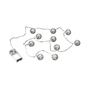 Butlers Oriental Lights LED Metallball Lichterkette 10 Lichter silber