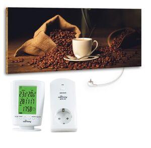 "Marmony 800W Infrarot-Heizung Motiv ""Coffeetime"" mit Thermostat MTC-40"