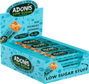 Adonis Nuss-Riegel Low-Sugar Kokos, Vanille & Acai-Beere (16 x 35g), Großpackung