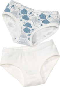 ALANA Doppelpack Kinder Slips, Gr. 98, in Bio-Baumwolle, weiß, blau
