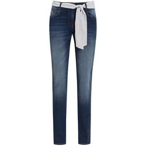 Damen Slim-Jeans mit gestreiftem Bindegürtel