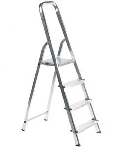 Elkop Haushaltsleiter, 4 Stufen, Aluminium ,  Plattform Stahl, rutschhemmend profiliert