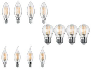 LIVARNO LIVING® Leuchtmittel, 4 Stück, Glühbirne, 4,3 Watt, 430 Lumen, E27/E14, warmweiß