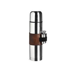 Isolierflasche mit Flachmann, 450/25ml, silber