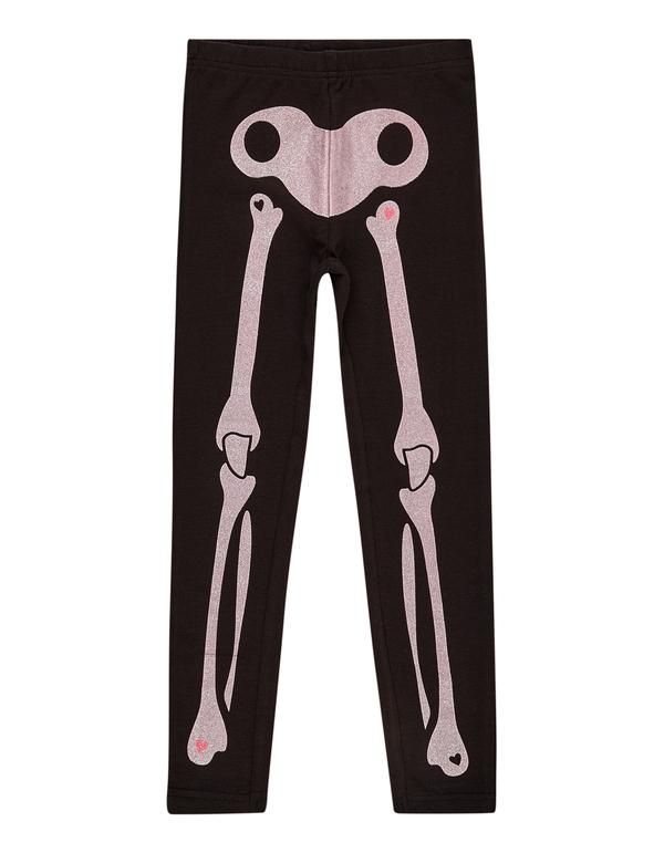 Mädchen Leggings mit glitzerndem Skelett-Print