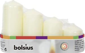Bolsius Stumpenkerze Adventsset   elfenbein, Höhe 12/10/8/6 cm, Ø 4,8 cm, 4er Pack