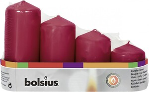Bolsius Stumpenkerze Adventsset   altrot, Höhe 12/10/8/6 cm, Ø 4,8 cm, 4er Pack
