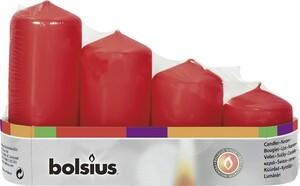 Bolsius Stumpenkerze Adventsset   rot, Höhe 12/10/8/6 cm, Ø 4,8 cm, 4er Pack