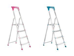 PARKSIDE® Leiter, aus Aluminium, 4 Stufen, mit Antirutsch-Riffelung, große Abstellfläche