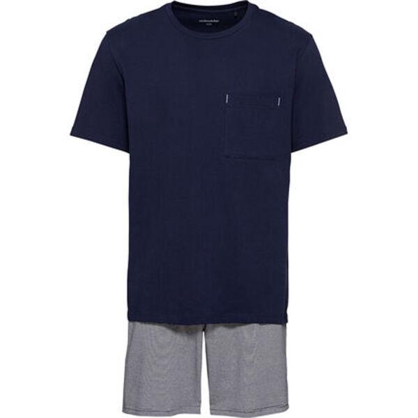 Seidensticker Pyjama, kurz, Rundhalsausschnitt, für Herren
