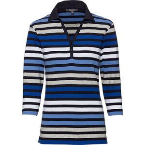 Adagio Damen Streifen-Polo-Shirt