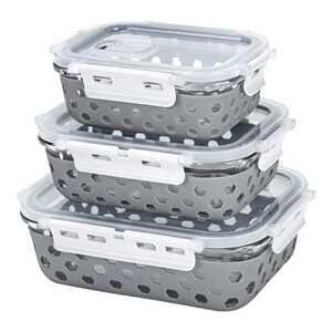 Glas-Frischhaltedosen-Set mit sicherem Klickverschluss, 6-teilig