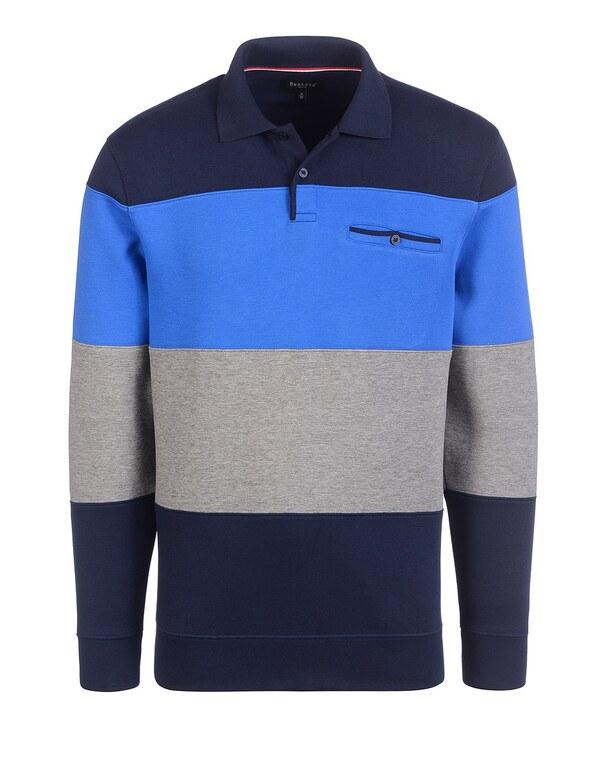 Bexleys man - Polo-Sweatshirt mit Blockstreifen
