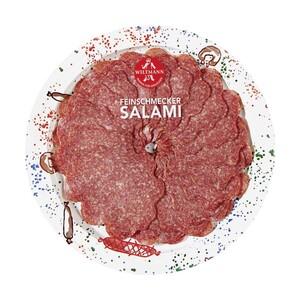 Wiltmann Feinschmecker Salami, Geflügel Salami oder Salami ummantelt mit Pfeffer jede 80-g-SB-Packung