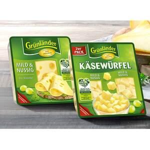 Grünländer Scheiben oder Käsewürfel Deutscher Schnittkäse  48 % Fett i. Tr./17 % Fett absolut, versch. Sorten, jede 150/130/120/110-g-Packung