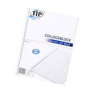 Collegeblock DIN A4 80 Blatt, perforiert und gelocht, mit Rand, liniert oder kariert, ab 3 Stück je