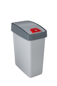Toptex Abfallbehälter 25L mit Flip-Deckel, helles silber