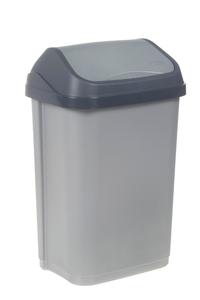 Toptex Abfallbehälter 25L mit Schwingdeckel, helles silber