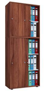 VCM Büroschrank Lona XXL mit Schiebetüren Kern-Nussbaum