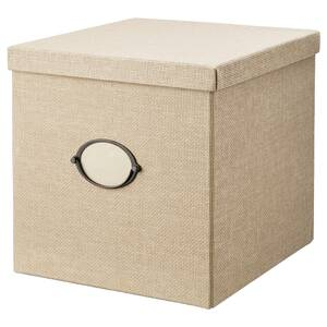 KVARNVIK                                Kasten mit Deckel, beige, 32x35x32 cm