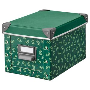 FJÄLLA                                Kasten mit Deckel, grün, geblümt, 18x26x15 cm