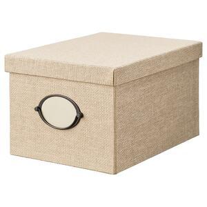KVARNVIK                                Kasten mit Deckel, beige, 25x35x20 cm