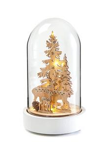 LED-Deko-Objekt Glasglocke mit Hirsch und Tanne