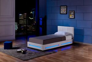 Home Deluxe LED Bett Asteroid 90 x 200, Weiß