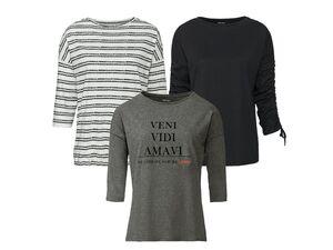 ESMARA® Shirt Damen, mit 3/4-Armlänge, Bindeband oder Raffung, aus reiner Baumwolle