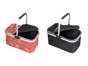 TOPMOVE® Einkaufskorb, zusammenfaltbar, mit Reißverschluss,Karabinerhaken, Alu-Rahmen