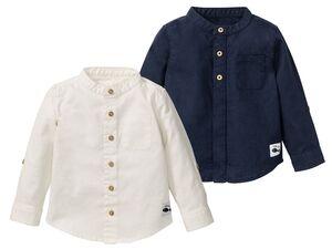 LUPILU® Baby Hemd Jungen, 2 Stück, mit Stehkragen und Knopfleiste, mit Bio-Baumwolle
