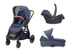 Maxi-Cosi Kinderwagen Adorra +  Oria Babywanne + Babyschale Cabrio Fix Sparkling Blue