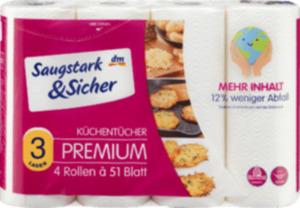 Saugstark&Sicher Küchentücher Premium 3-lagig 4x51 Blatt