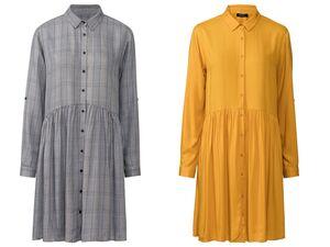 ESMARA® Kleid Damen, mit Viskose, Krempelärmel, Kentkragen, durchgehende Knopfleiste