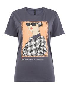 Damen T-Shirt mit Ziersteinbesatz