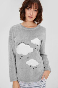 Fleece-Pyjamashirt