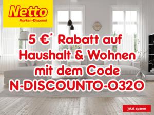 5€ Rabatt im Netto Marken-Discount Online-Shop auf alle Angebote in der Kategorie Haushalt & Wohnen*