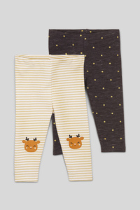 Baby-Leggings - 2er Pack - Glanz Effekt