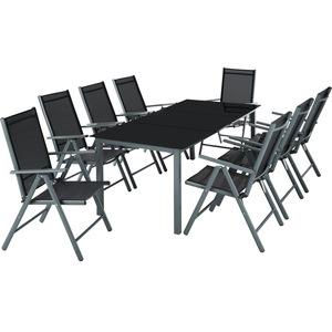 Aluminium Sitzgruppe 8+1 dunkelgrau
